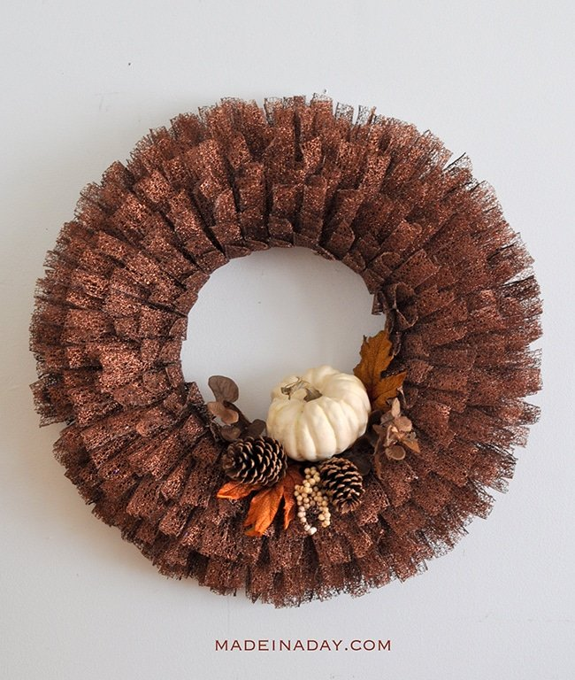 Dazzling Fall Pumpkin Metallic Ribbon Wreath