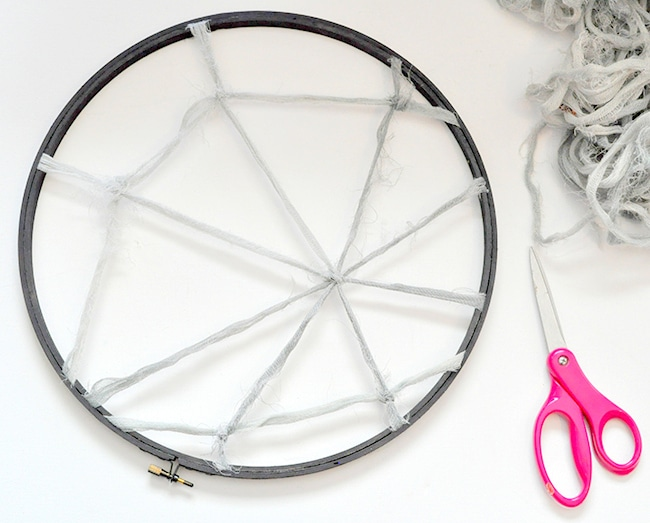 how to make a spiderweb with a hoop