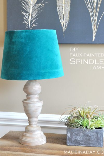 DIY Faux Wood Spindle Lamp
