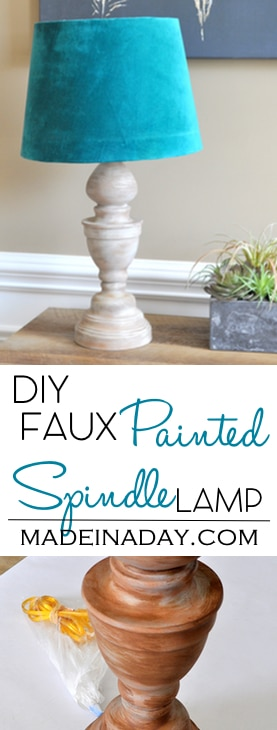 DIY Faux Wood Spindle Lamp, turn a thrift store brass lamp into a trendy Wood Spindle Lamp with faux painting. Teal lamp shade, wood spindle