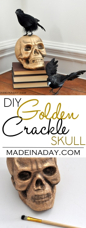 Gold Crackle Raven Skull, Paint a foam skull with liquid gilding and acrylic paint for an eerie crackle effect.