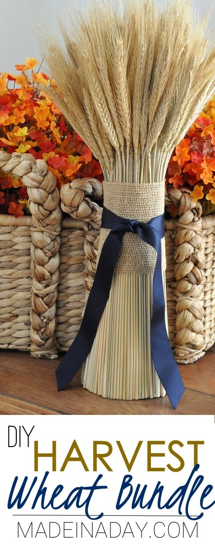 DIY Harvest Wheat Bundle, Make a wheat #bundle for your #fall decor using foam and #wheat stems. #thanksgiving #falldecor #harvest #wheatbundle #autumn