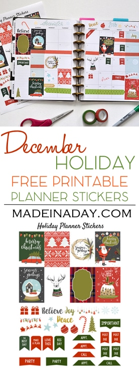 December Holiday FREE Printable Planner Stickers! Ugly Sweater, fruitcake, truck & tree, snow globe stickers for Christmas Happy Planner