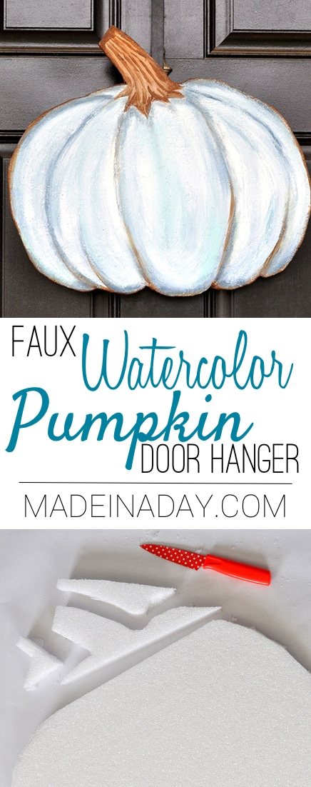 blue watercolor pumpkin door hanger