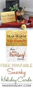 #Free Printable Snarky #Holiday Christmas Cards