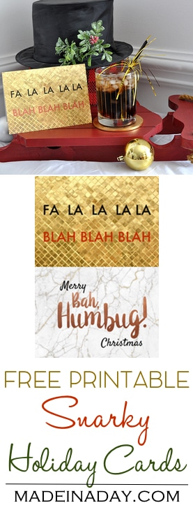 #Free Printable Snarky #Holiday Christmas Cards