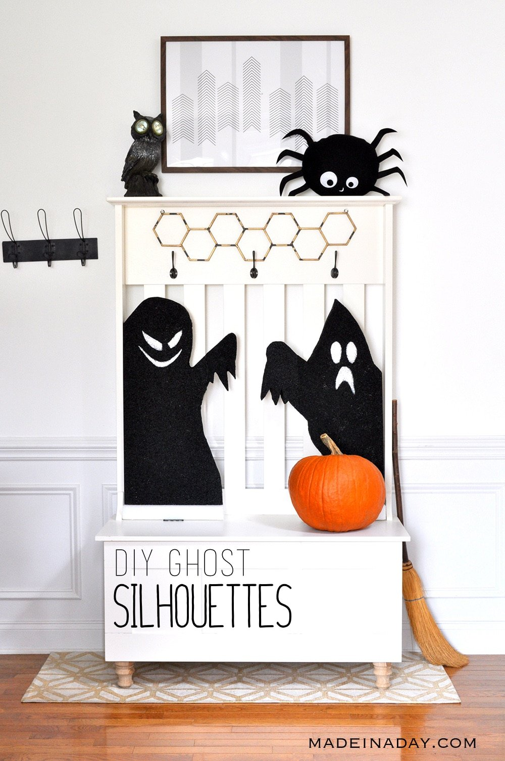 Ghost Silhouettes, Ghost Window Clings, Halloween Silhouettes, Haunted House silhouettes, black ghost Halloween decorations