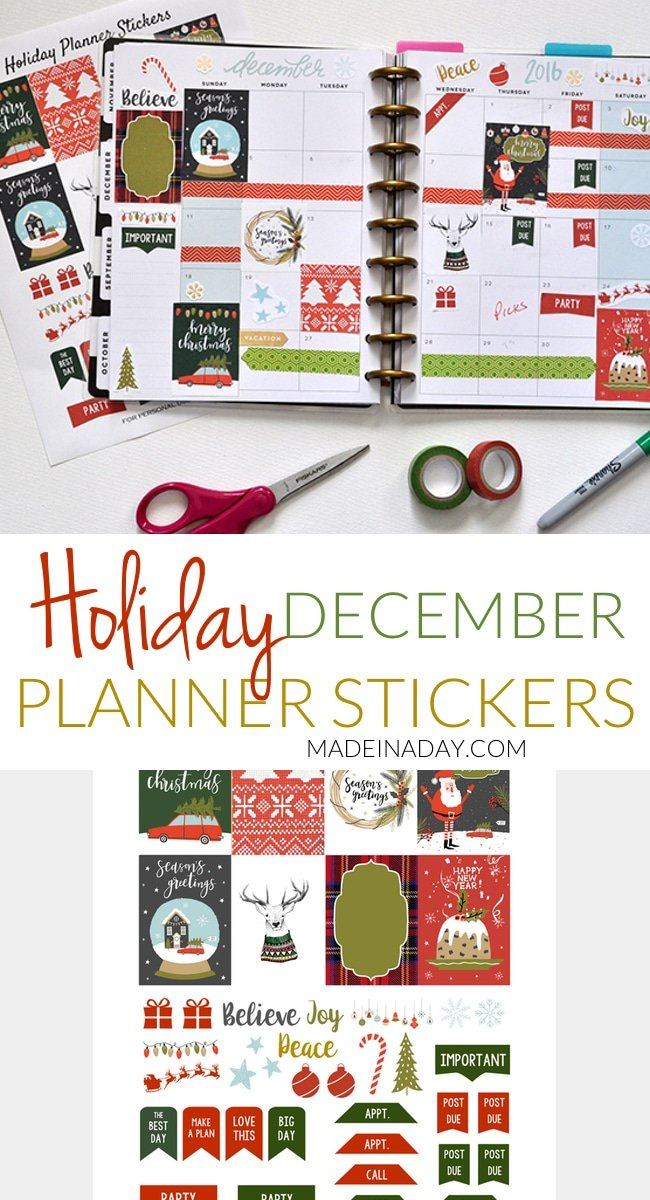 December Holiday Printable Planner Stickers! Ugly Sweater, fruitcake, truck & tree, snow globe stickers for Christmas Happy Planner
