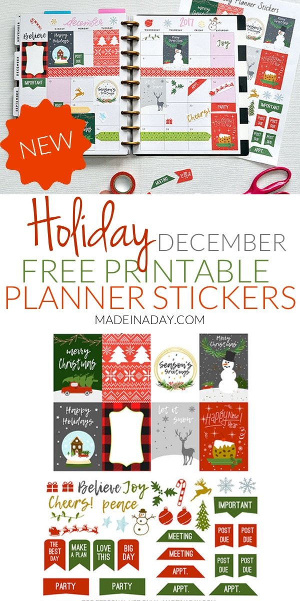 December Holiday #Printable Planner Stickers! Ugly Sweater, fruitcake, truck & tree, snow globe stickers for Christmas Happy Planner, #holiday #plannerstickers