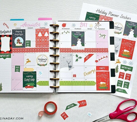 Trendy December Christmas Printable Planner Stickers 35