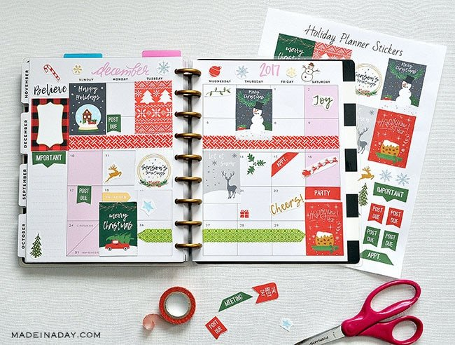 picture relating to Printable Christmas Stickers identified as Refreshing December Xmas Printable Planner Stickers Built within just