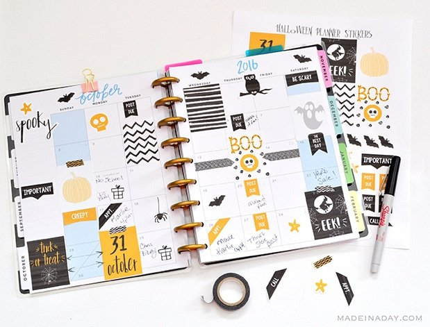 October Happy Planner Stickers, Halloween Happy Planner Stickers