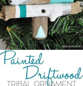 Painted Driftwood Tree Ornament 1