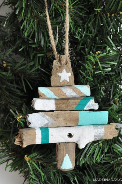 Painted Driftwood Tree Ornament