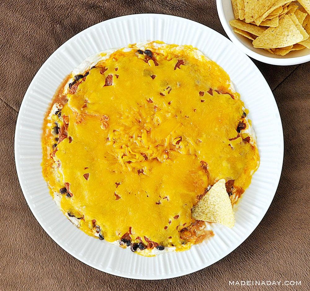 Layered Tex Mex Cheese Dip with Salsa