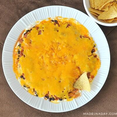 Throw a Perfect Football Game Bash + Layered Tex Mex Cheesy Salsa Dip Sponsored
