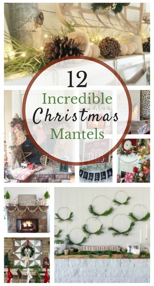 12 Impressive Holiday Mantels, White, gold, rustic, vintage, fun DIY mantels for Christmas, Deer Mantle, Homemade mantle decor,