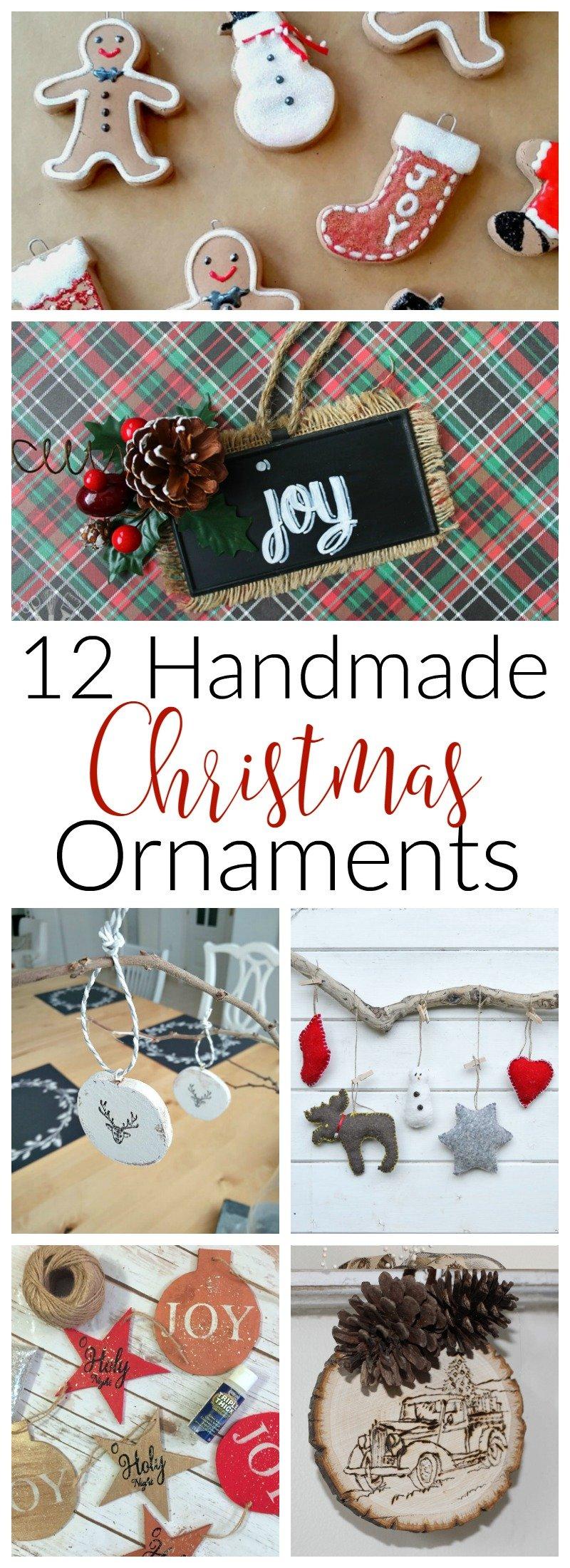 12 DIY Handmade Christmas Ornaments, chalkboard, deers, gingerbread man, bottle brush, Santa, Wood slice, felt and more