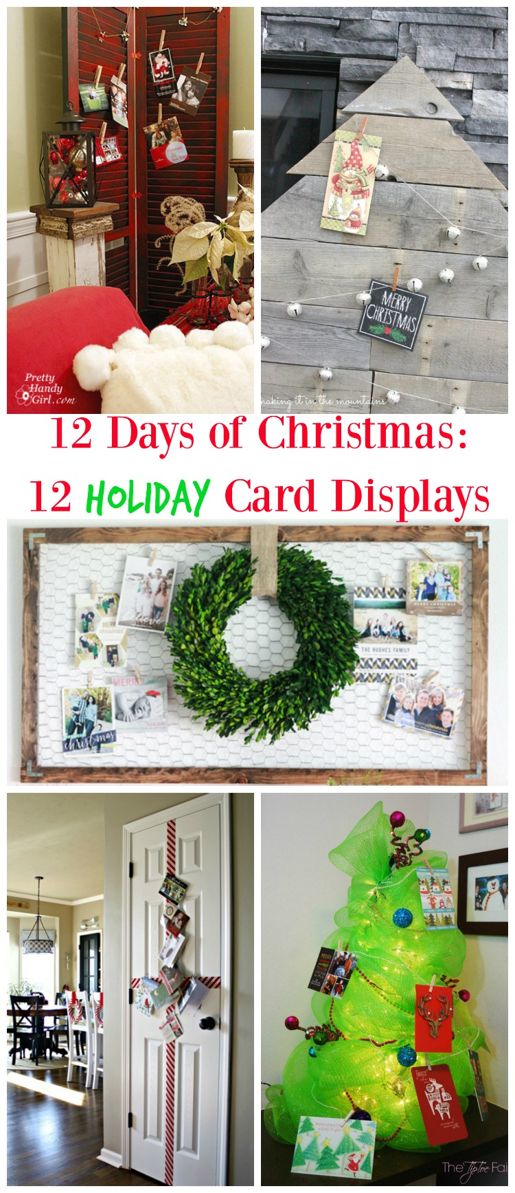 12 Holiday Card Displays, Trees, Reclaimed Wood, Chikcen Wire, Ribbon And  More