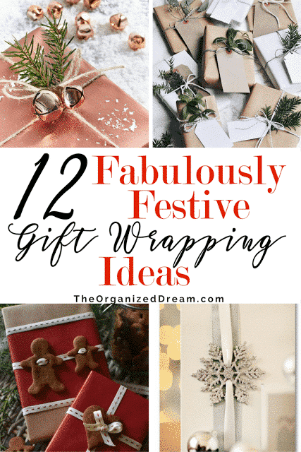 12 Gorgeous Ways to Wrap Gifts, 12 Gorgeous Ways to Wrap Gifts, Copper paper, Red berries, Gingerbread Man, Ornaments, Snowflakes, Crayons,