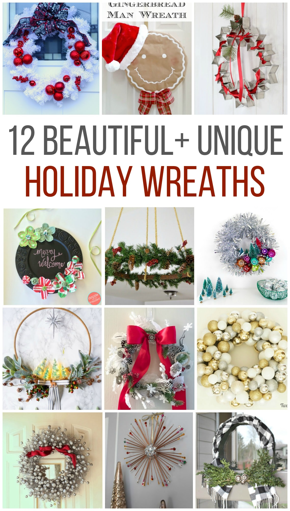 12 Beautiful and Unique Holiday Wreaths, tinsel wreath, chalboard wreath, buffalo check wreath, #holidaywreath #christmaswreath #wreath #holiday #hoopwreath #gingerman #wreath