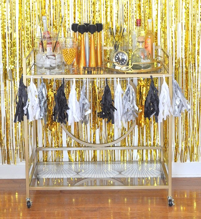 black-gold-new-years-bar-cart-madeinaday-com