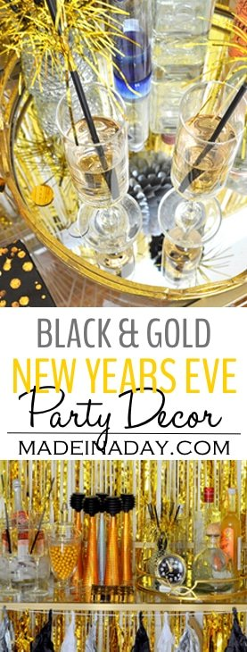 New Years Eve Bar Cart Styling,Glam up your home this New Year's Eve with a fun bar cart and party accessories. #sponsored #barcart #newyearseve #gold #goldparty