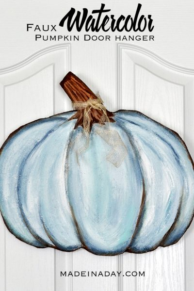 Blue Faux Watercolor Pumpkin Door Hanger