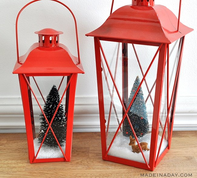 snow filled bottle brush lanterns