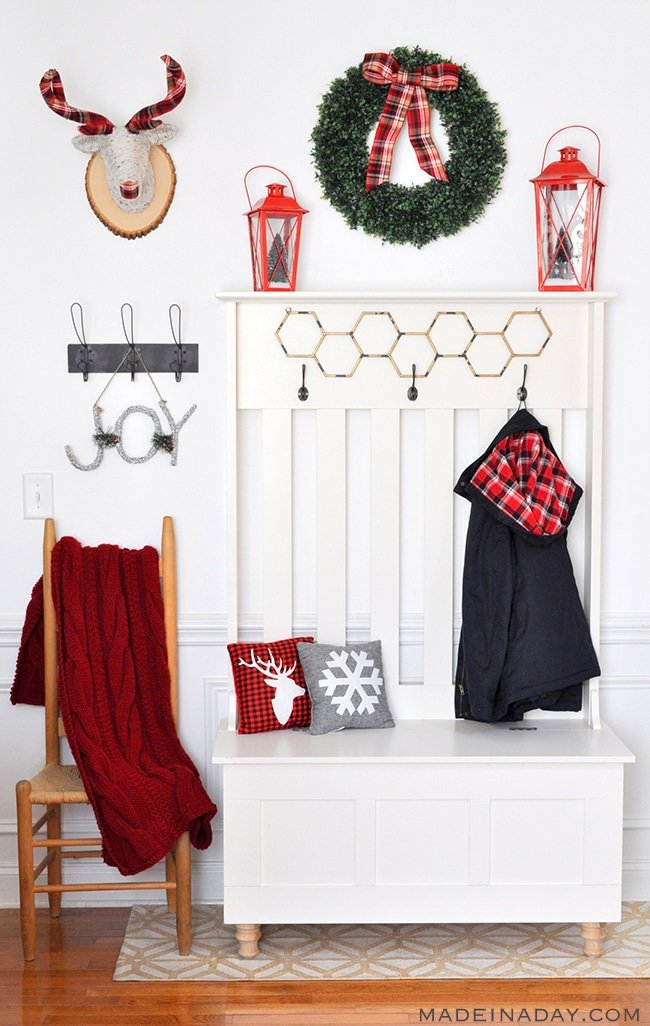 red plaid mudroom entry