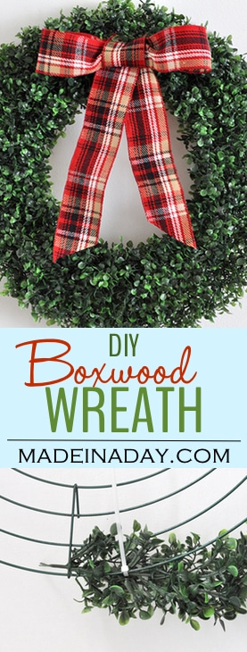 Trendy Holiday Decor: #Boxwood #Wreath and Lantern Styling, boxwood wreath from a garland, add snow to lantern for a sweet Christmas display, red plaid Christmas decor