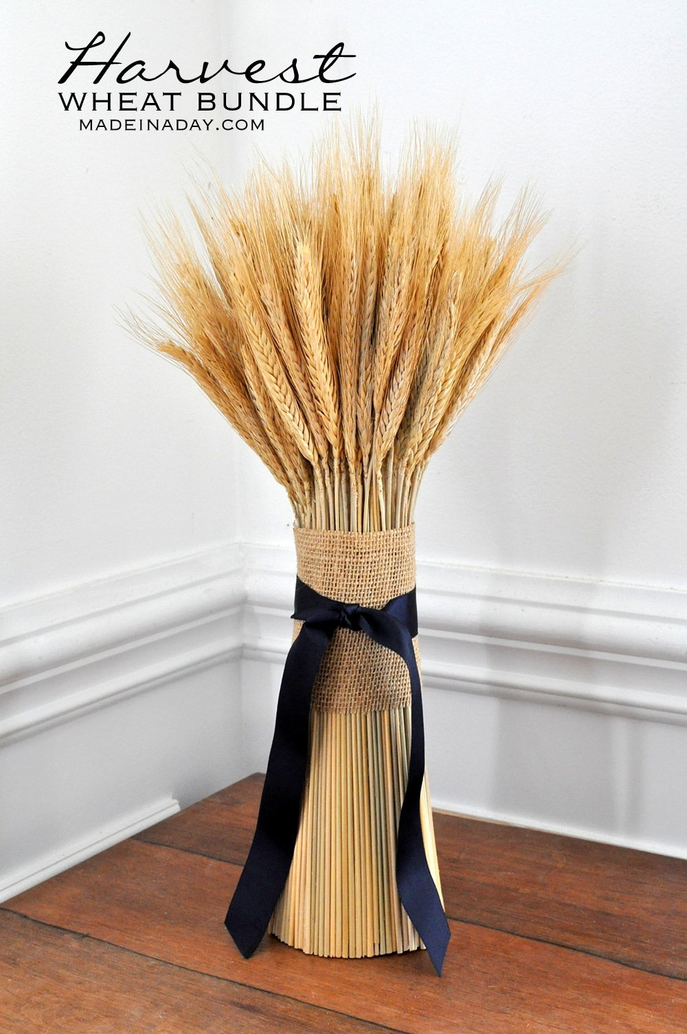 DIY Fall wheat bundle with foam, how to make a wheat bundle, wheat bundle centerpiece