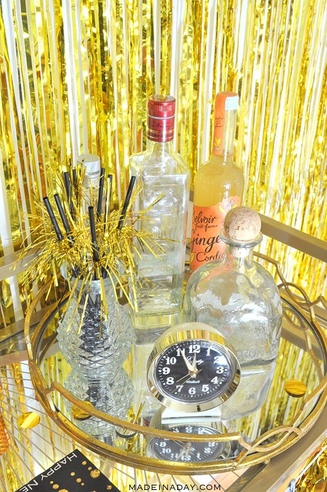 gold-new-years-bar-cart-madeinaday-com