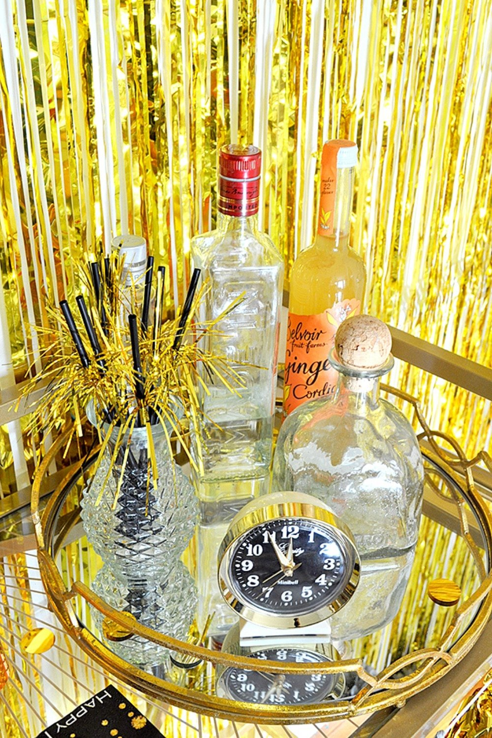Sparkling Gold New Years Eve Bar Cart Styling