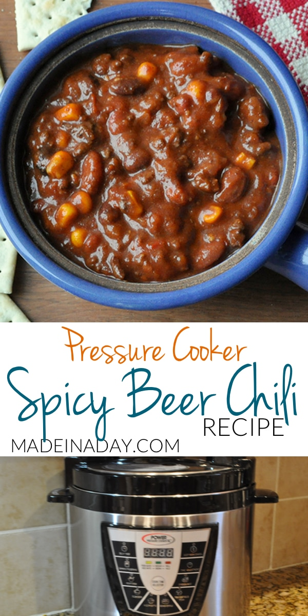 Pressure Cooker Spicy Beer Chili Recipe, dried beans cooked fast, corn, chipotle peppers, robust amber ale craft beer chili, pressure cooker recipes, spicy chili recipe,