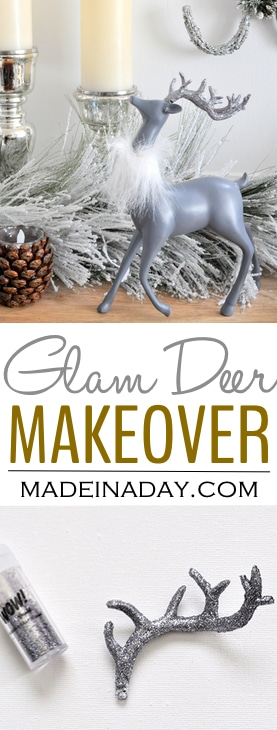 Reindeer Glam Makeover Holiday Decor,See how I changed a set of rustic deer decorations, grey deer, deer with faux fur collar, deer decor