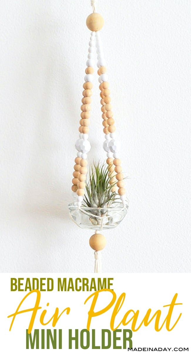beaded macrame plant hanger for air plant