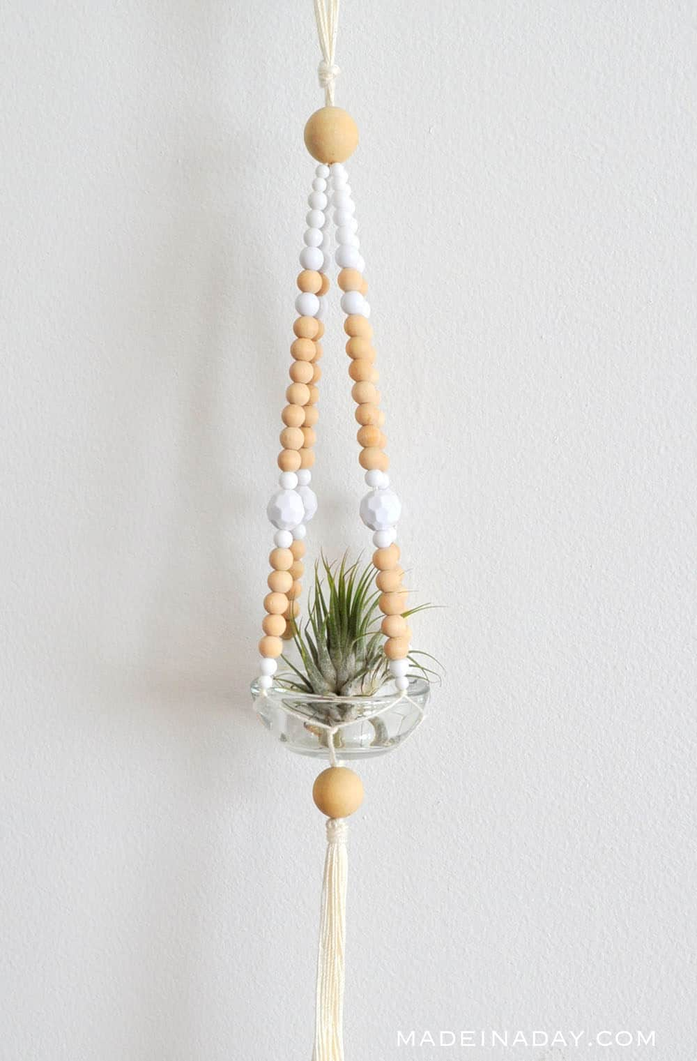 graphic about Free Printable Macrame Plant Hanger Patterns titled Straightforward Beaded Macrame Plant Hanger Developed within just a Working day
