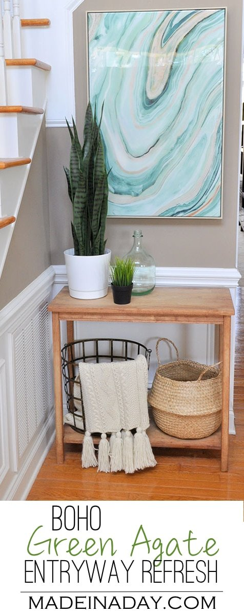 Fresh Entryway Makeover Using Silk Plants,Boho green entryway refresh with baskets, green agate high gloss wall art & a snake plant. #ad