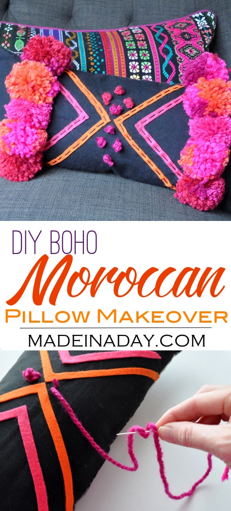 DIY Boho Pink Pom Moroccan Pillow,Makeover a cute lumbar pillow using felt and pom poms! Bohemain, boho decor, moroccan decor, pink orange