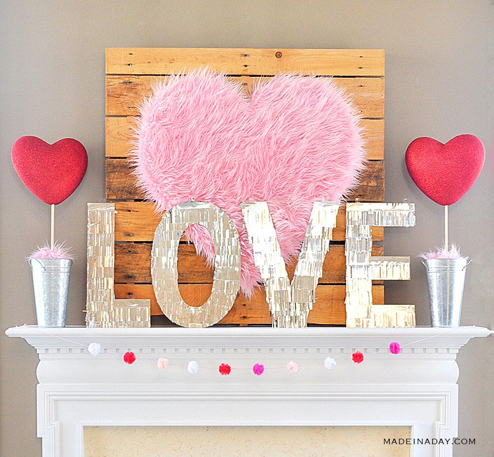 Fur Heart Valentine Topiaries Mantle Decor