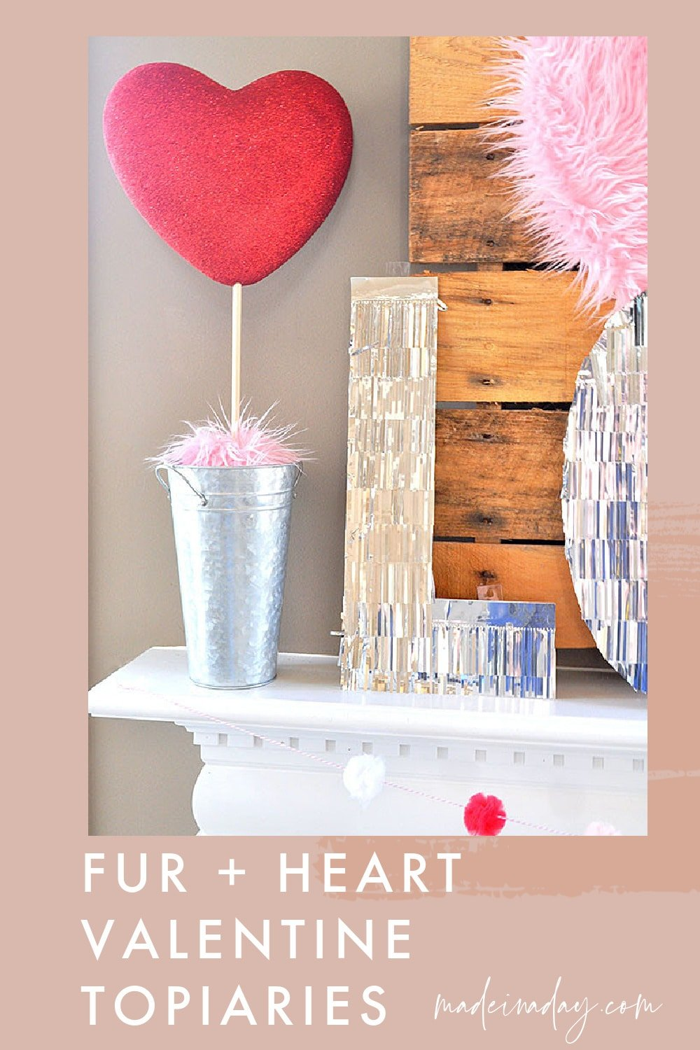 Pink Fur Valentine Heart Shaped Topiary