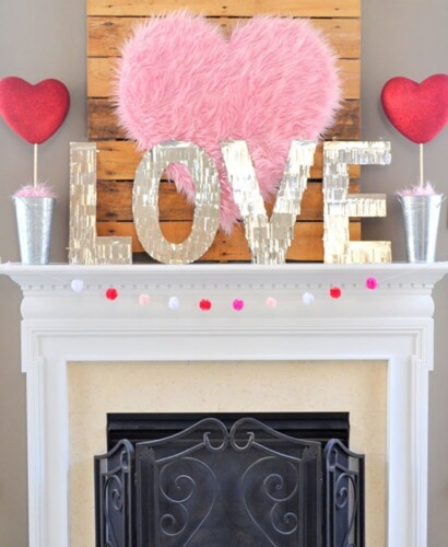 Valentine Heart + Faux Fur Topiaries Mantle Decor 3