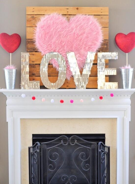 Valentine Heart + Faux Fur Topiaries Mantle Decor 9