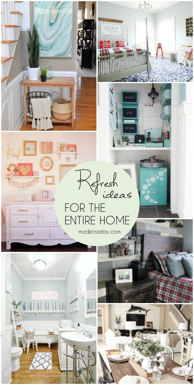 Refresh Ideas for the Entire Home, beautiful room makeovers, entryway, bedroom, plank wall, command center closet, gallery wall, bathroom