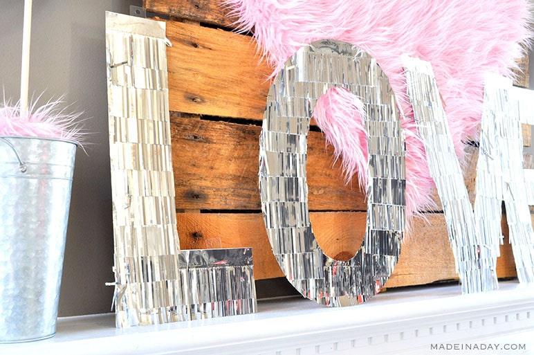 large silver fringe letters