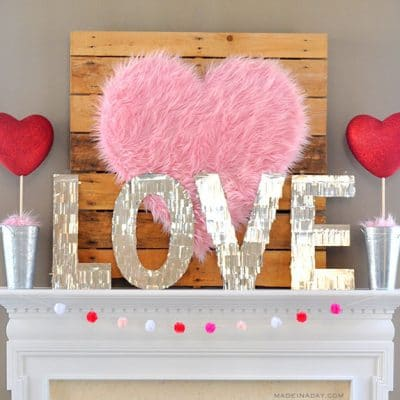Valentine Heart + Faux Fur Topiaries Mantle Decor