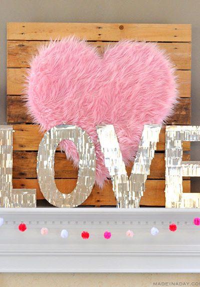 Valentine Heart + Faux Fur Topiaries Mantle Decor
