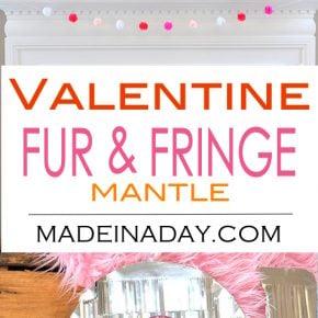 Valentine Heart + Faux Fur Topiaries Mantle Decor 1