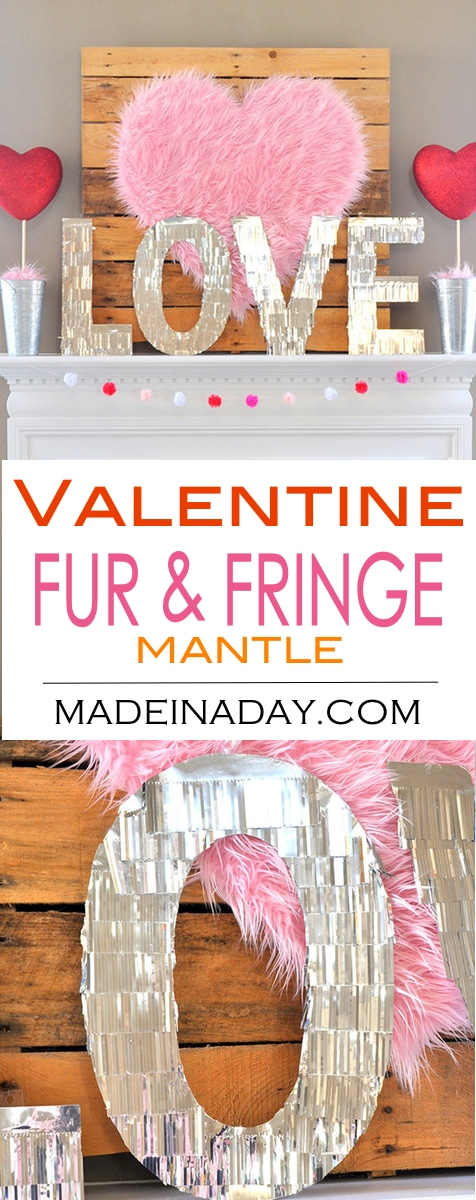 How to make Valentine Heart + Faux Fur Topiaries, Valentine Mantle, Fur Heart, fur topiary, centerpiece, conversation heart garland, galvanized bucket topiary, heart topiary, Valentine topiary #sponsored
